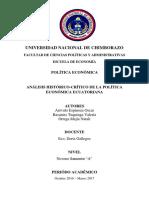 Análisis Histórico Crítico de La Politica Económica Ecuatoriana