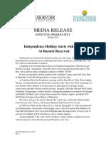 Media Release - Independence Celebration at the REZ July 1st 062817