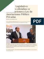 Decreto Legislativo, Ejecutivo oficializa 12 modificaciones a Ley de Asociaciones Público Privadas.docx