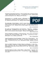 Acquisitions de la bibliothèque de janvier à juin 2015