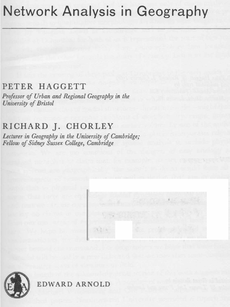 Peter Hag T Richard J Chorley Network Analysis In Geography