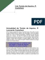 Castellani - Actualidad de Tomás de Aquino
