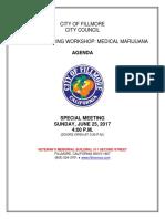 Fillmore City Council Special Listening Workshop Medical Marijuana, June 25, 2017