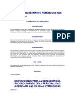 Acuerdo Gubernativo 263-2006 Iglesias Evangelicas