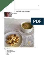 Sopa de Ervilha Com Croutons