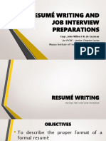 Resumé Writing and Job Interview Preparations