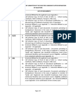 List of Documents to Be Submitted by the Candidate After the Draw