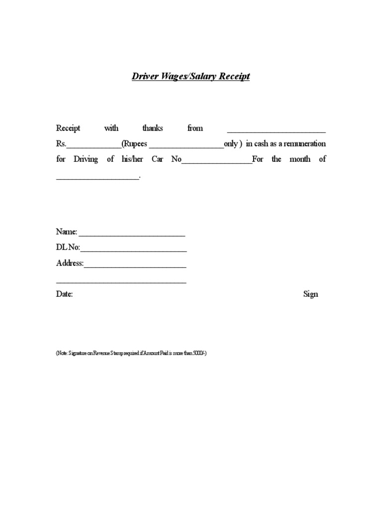 Driver Salary Receipt Template