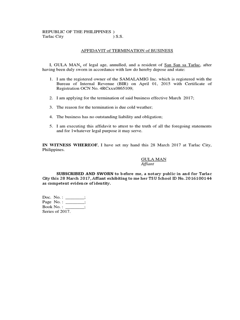 Affidavit of closure of business bir yadclub Choice Image