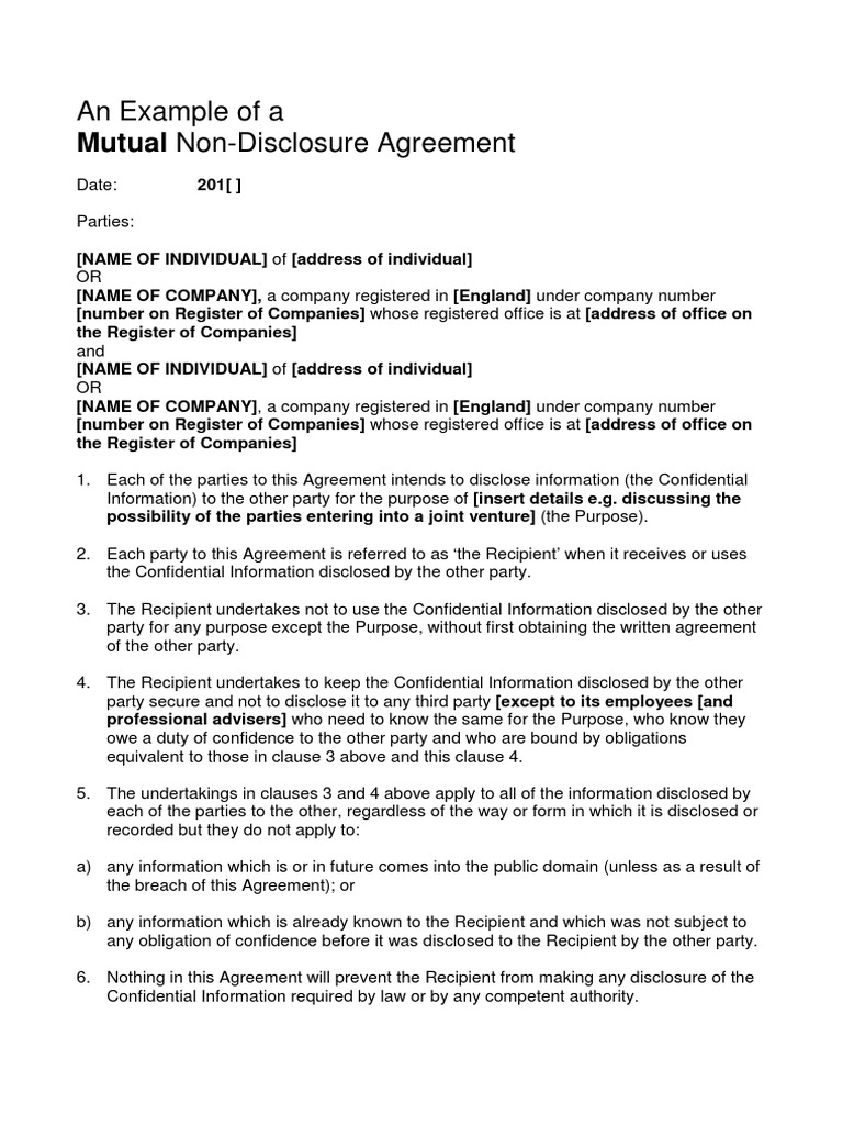 Example Mutual Non Disclosure Agreement Non Disclosure Agreement