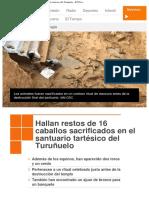 Hallan restos de 16 caballos sacrificados en el santuario tartésico del Turuñuelo (Guareña)  - Noticia RTVE 26/6/2017
