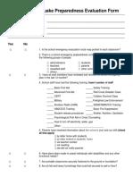 School Earthquake Preparedness Evaluation Form
