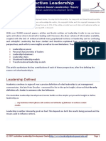 Effective Leadership Overview Theory
