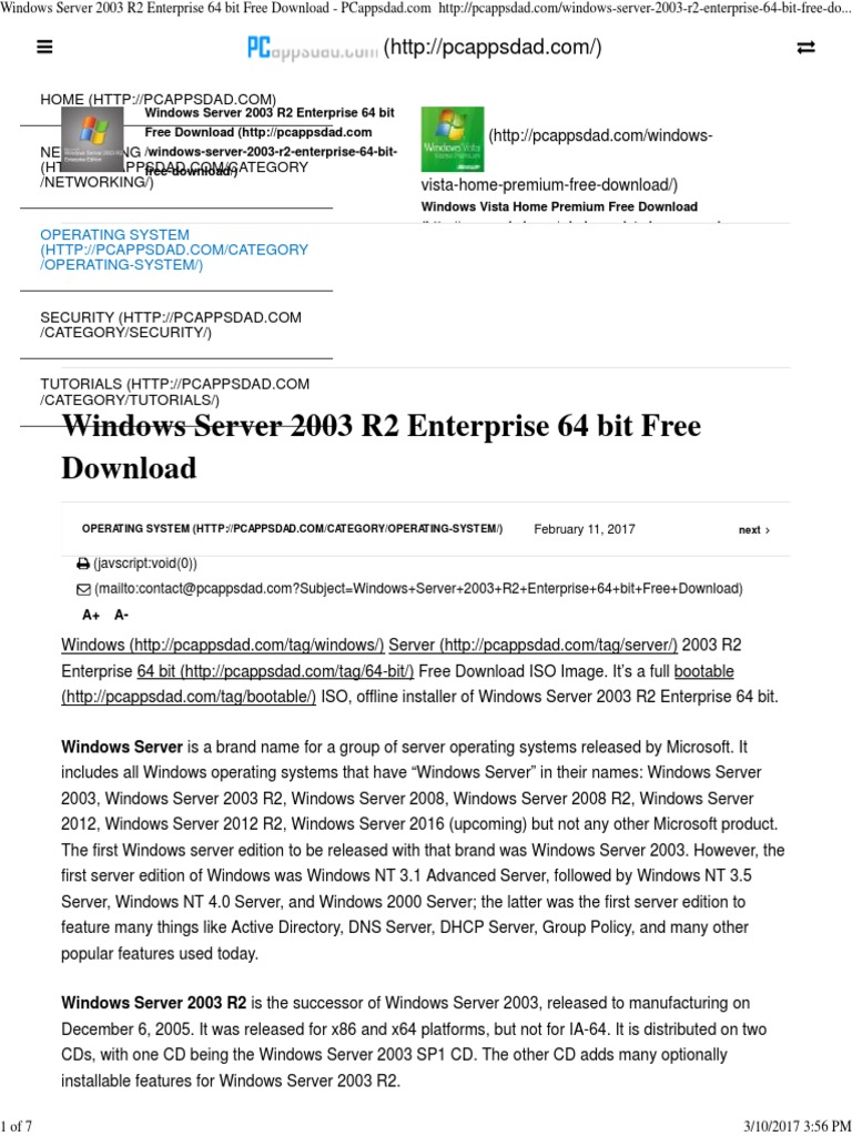 windows server 2003 r2 standard edition 64 bit iso
