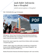 Asosiasi Rumah Sakit Indonesia Telat Terapkan E-Hospital