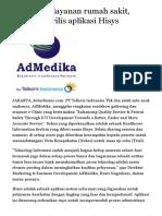 Bisa bantu layanan rumah sakit, AdMedika rilis aplikasi Hisys | Teknologi