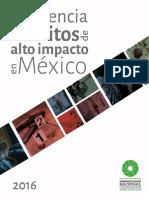 Incidencia de delitos de alto impacto en México 2016