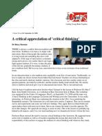A Critical Appreciation of Critical Thinking