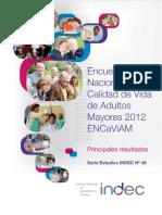 29. Encuesta Nacional Sobre Calidad de Vida de Adultos Mayores 2012
