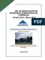 ACEROS AREQUIPA Informe de Modelo de Dispersión