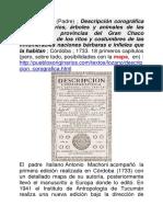 Pedro Lozano Descripcion Corografica Gran Chaco I-xviii