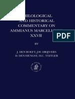 Jan Willem Drijvers, J. Den Boeft, D. Den Hengst, H. C. Teitler, Philological and Historical Commentary on Ammianus Marcellinus 27 (Inglés)