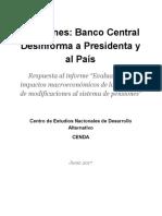 Pensiones:BancoCentral DesinformaaPresidentay alPaís