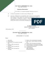 The Road Traffic Amendment No.2 Bill