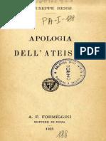 Rensi, Giuseppe. Apologia Dell'Ateismo. ,. Roma - A. F. Formiggini, 1925