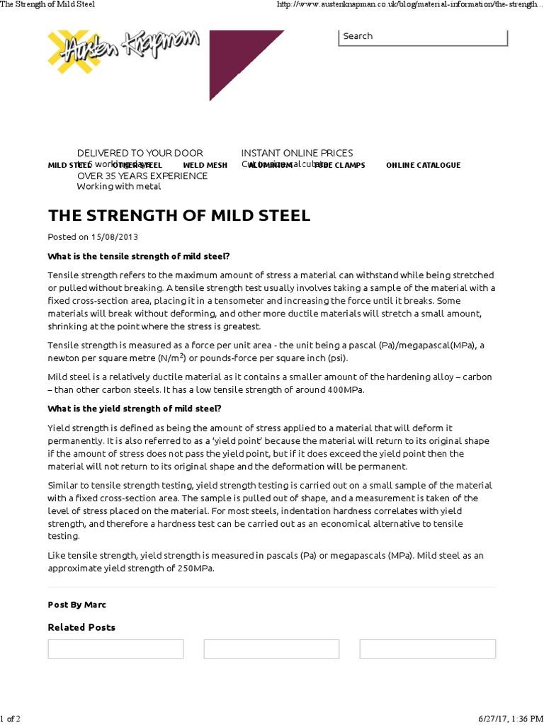 The Strength Of Mild Steel Ultimate Tensile Strength