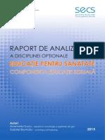 Raport de Analiza a Disciplinei Optionale Educatie Pentru Sanatate Componenta Educatie Sexuala