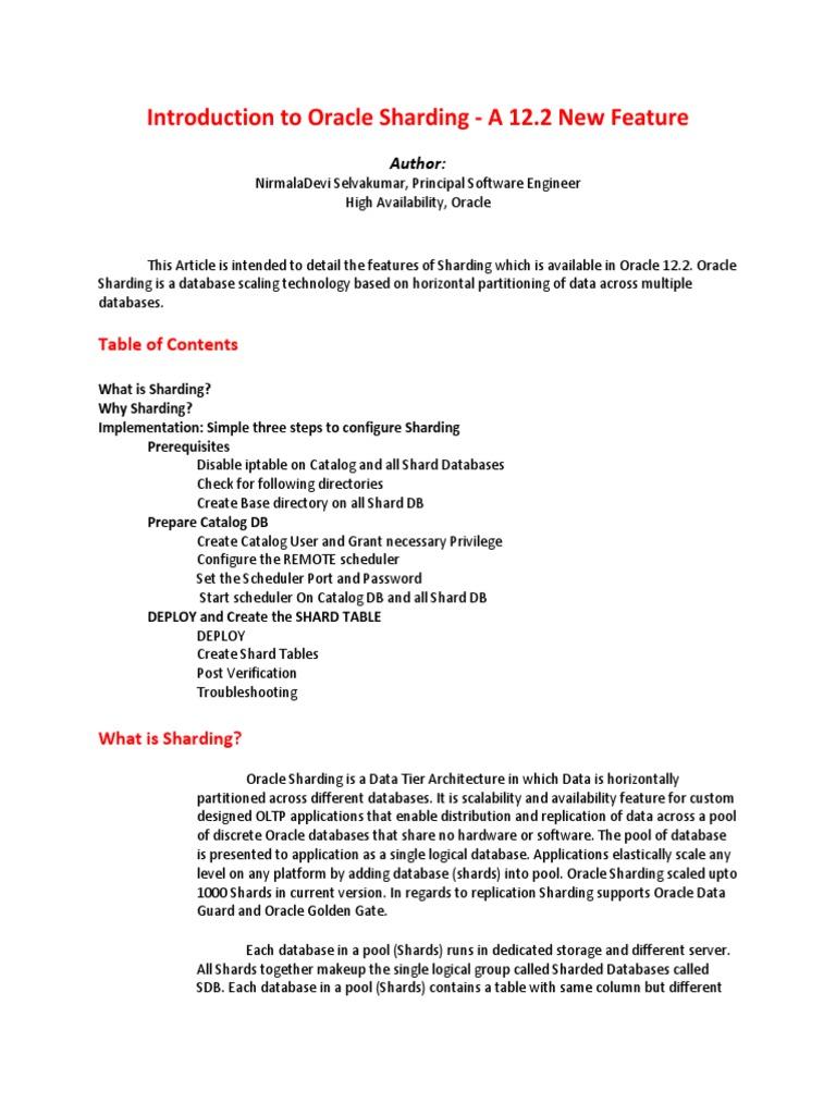 Introduction To Oracle Sharding Oracle Database Databases
