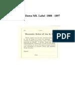 Golden Dawn - MS. Label. (1888 - 1897).