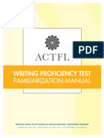 ACTFL Writing Proficiency Test WPT Familiarization Manual