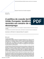 A Política de Coesão Territorial Da União Europeia_ Tendências Recentes Em Cenário de Crise e Desemprego