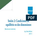 Sesión 2 Condiciones de Equilibrio en Dos Dimensiones