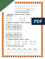 Atividade de Matemática sinais de maior e menor, de igual e diferente, e sinal de U (união)