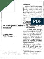 La Investigacion Urbana en Colombia