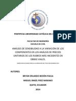 Disertación de Grado (Análisis de Sensibilidad en APUs)