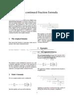 Euler's Continued Fraction Formula