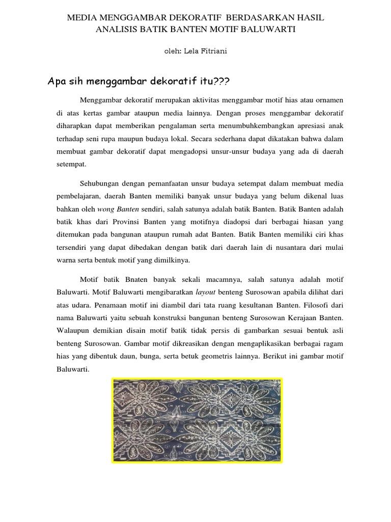 Media Menggambar Dekoratif Berdasarkan Hasil Analisis Batik Banten Motif Baluwarti