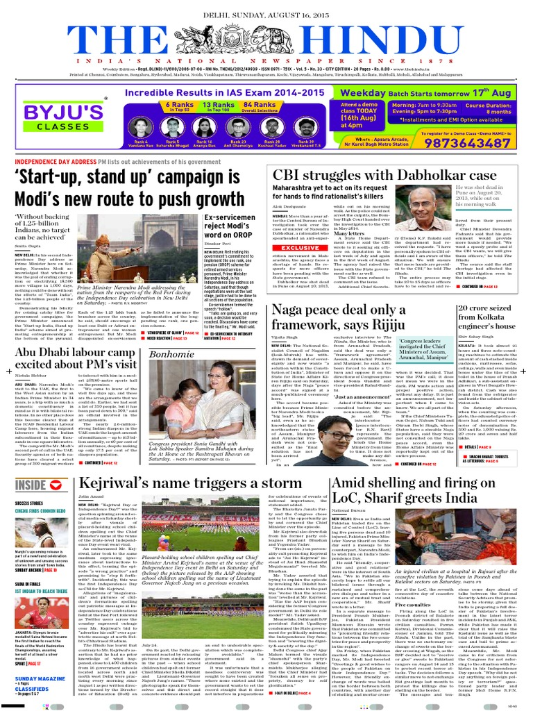 DELHI, SUNDAY, AUGUST 16, 2015 pdf   Narendra Modi   Delhi