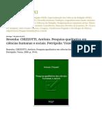 Edgar Luiz XXI Resenha CHIZZOTTI, Antônio. Pesquisa Qualitativa Em Ciências Humanas e Sociais. Petrópolis Vozes, 2006. p. 19-61.