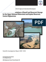 Water-Balance Simulations of Runoff and Reservoir Storage for the Upper Helmand Watershed and Kajakai Reservoir, Central Afghanistan