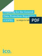 Preparing for the Gdpr 12 Steps