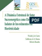 A Dinamica Estrutural Do Setor Sucroenergetico Como Indutor de Investimentos Em Bioeletricidade