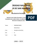 Proyecto Inicial_Relación Entre Estilos Parentales y El Desarrollo de Ansiedad Como Cuadro Clínico, En Adolescentes Del Cono Norte de La Ciudad de Lima