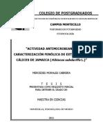 Morales-Cabrera. Actividad Antimicriobiana y Caracterización Fenólica de Extarctos de Cálices de Jamaica (Hibiscus Sabdariffa L)