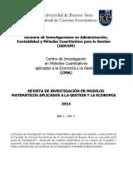 Revista de Investigacion en Modelos Matem Ticos Aplicados a La Gestion y La Econom a. a o 1. Volumen 1