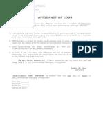 Affidavit of Loss (Drivers License)